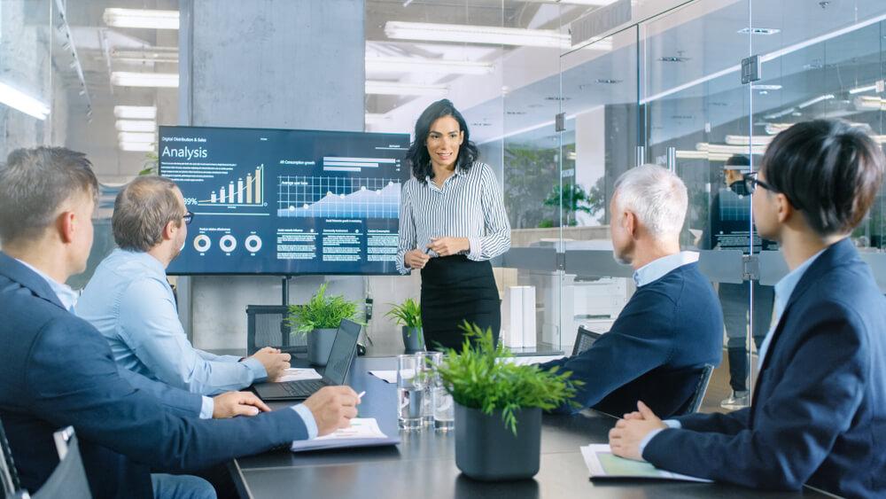 businesswoman gives presentation